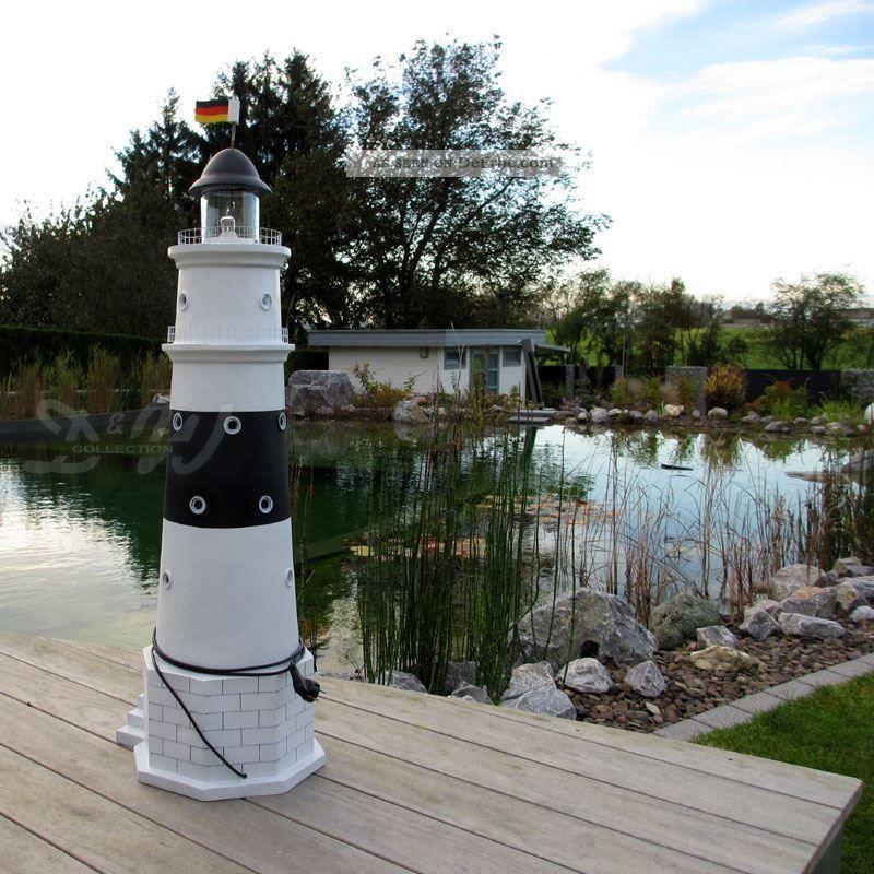 Leuchtturm Kampen Sylt 120 Cm Schwarz Weiß Doppellicht Garten Deko Figur  Nordsee Bild