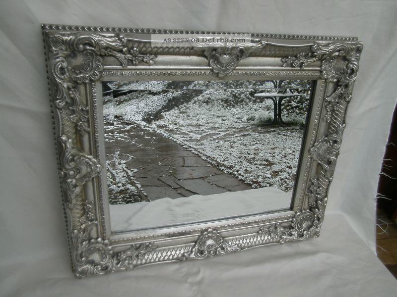 gro er wandspiegel spiegel barock stil bad flur antik silber holz 54x44x5cm. Black Bedroom Furniture Sets. Home Design Ideas