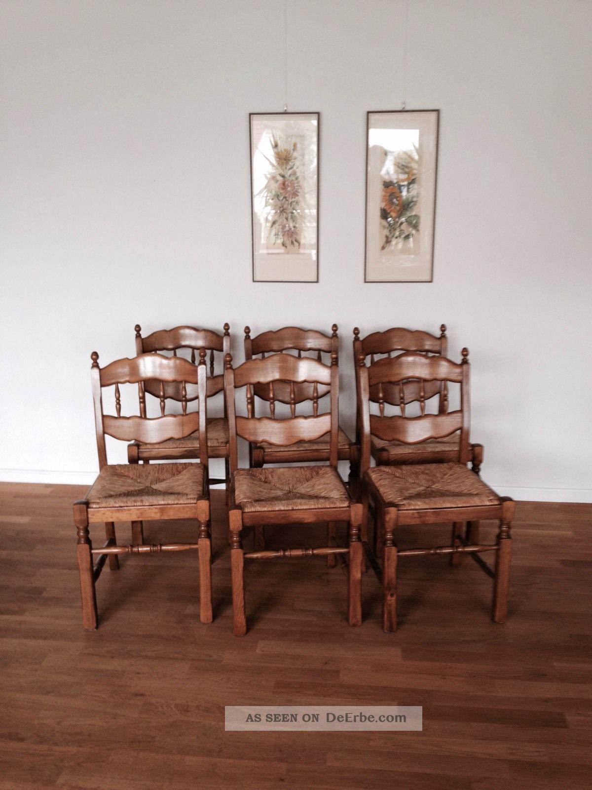 6 st hle eiche massiv sitz rattangeflecht 80er sehr gut erhalten stabil. Black Bedroom Furniture Sets. Home Design Ideas