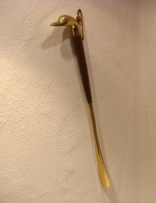 Alte Schuhlöffel Schuhanzieher Messing 55cm Art Deco Antik Rar - Dachbodenfund Bild