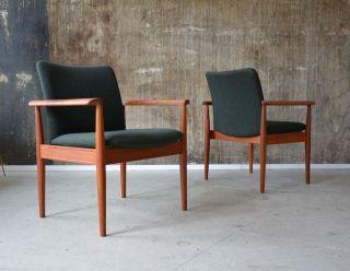 1 (2) 60er Finn Juhl Teak Armlehnstuhl Sessel France & Son 60s Chair Teakwood Bild