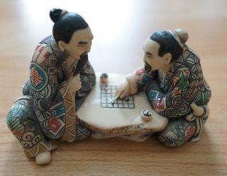 Figur - Asien - 2 Japaner Beim Schachspiel - Signiert/gestempelt - Netsuke Bild