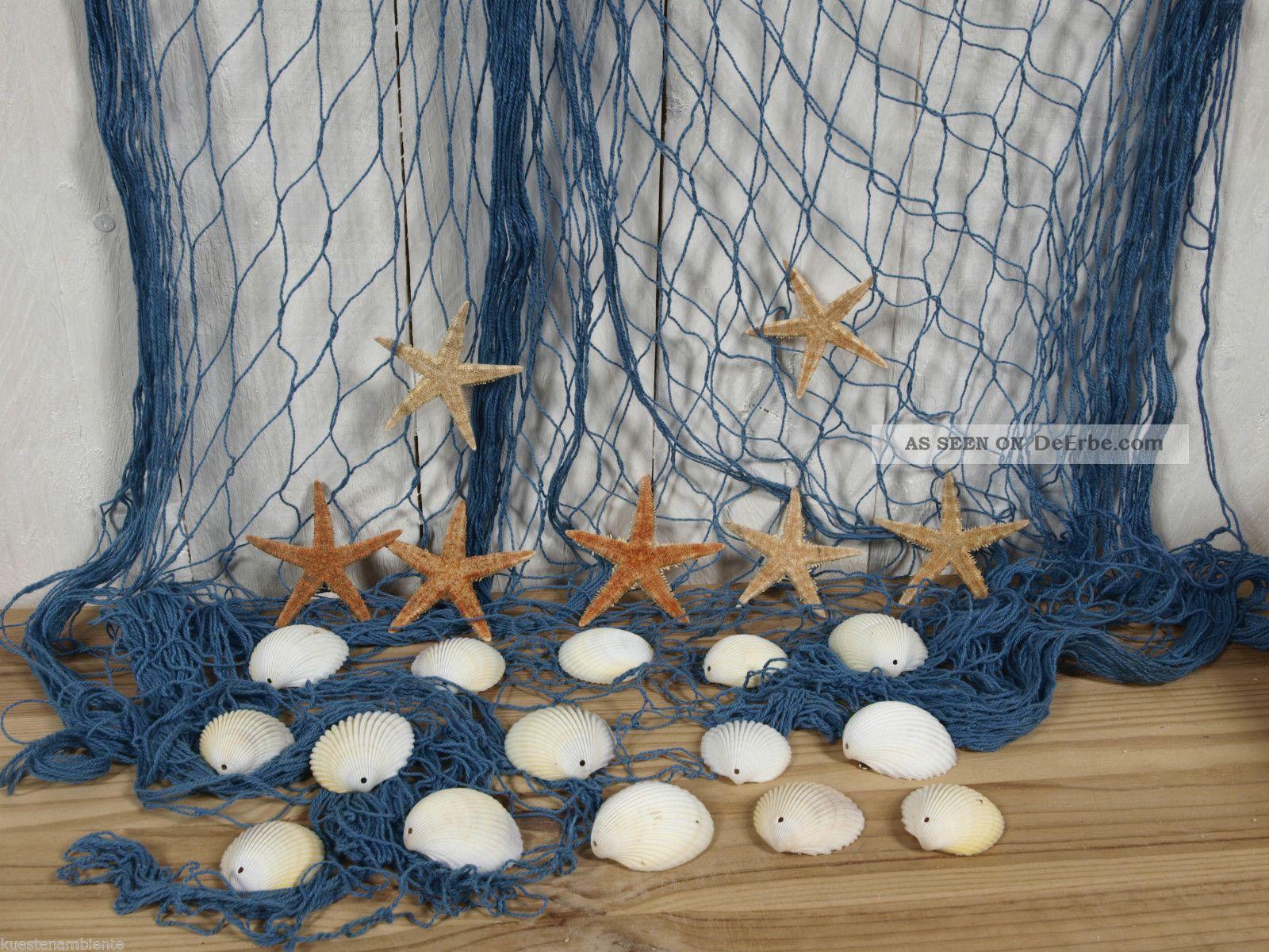 fischernetz 2 x 4m blau mit 7 seesternen und 15 muscheln f r die maritime deko. Black Bedroom Furniture Sets. Home Design Ideas