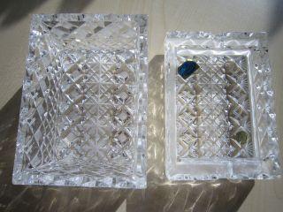 Böhmisches Bleikristall; Dose; 2 - Teilig; Aschenbecher; Rechteckig; Bild