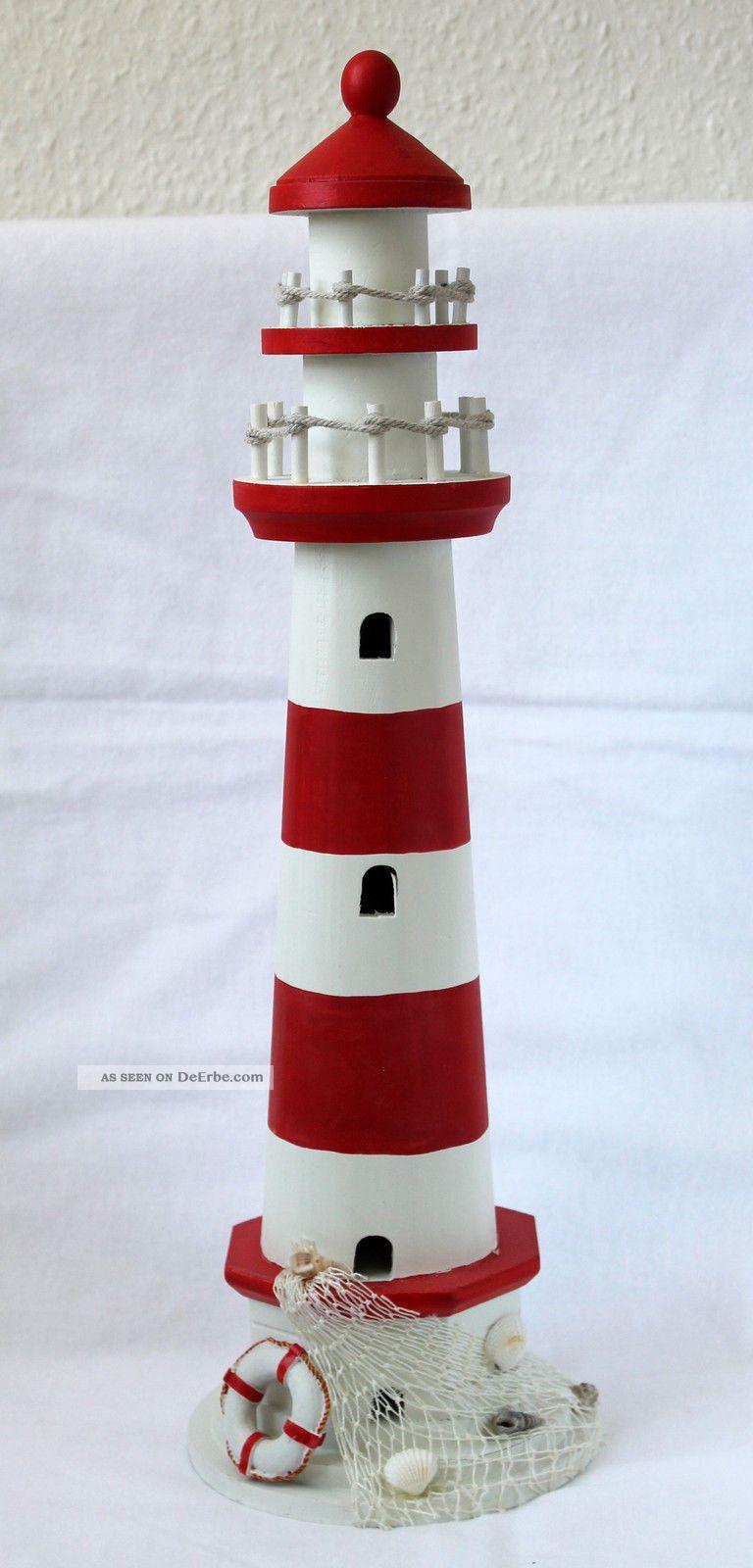 Leuchtturm holz 55cm zur dekoration maritim geschm ckt lighthouse - Dekoration maritim ...
