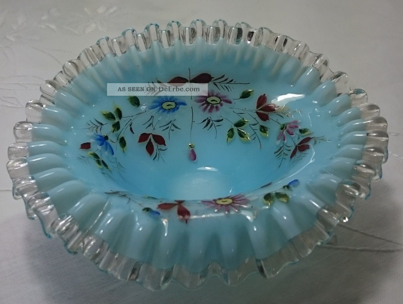 Hellblaues Opalin - Glasschälchen Mit Email - Malerei,  Evtl.  1910 - 1920 Glas & Kristall Bild