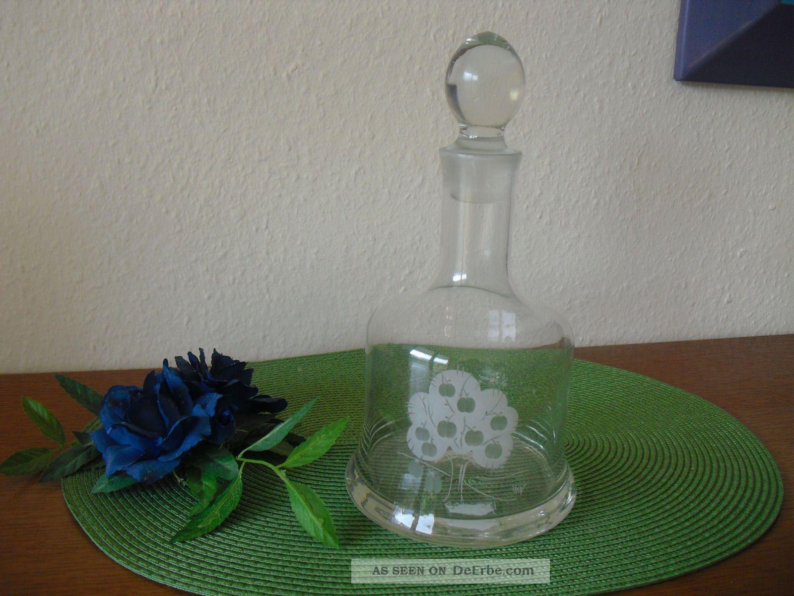 kristall glas karaffe mit graviertem baum aus den 70er jahren vintage. Black Bedroom Furniture Sets. Home Design Ideas