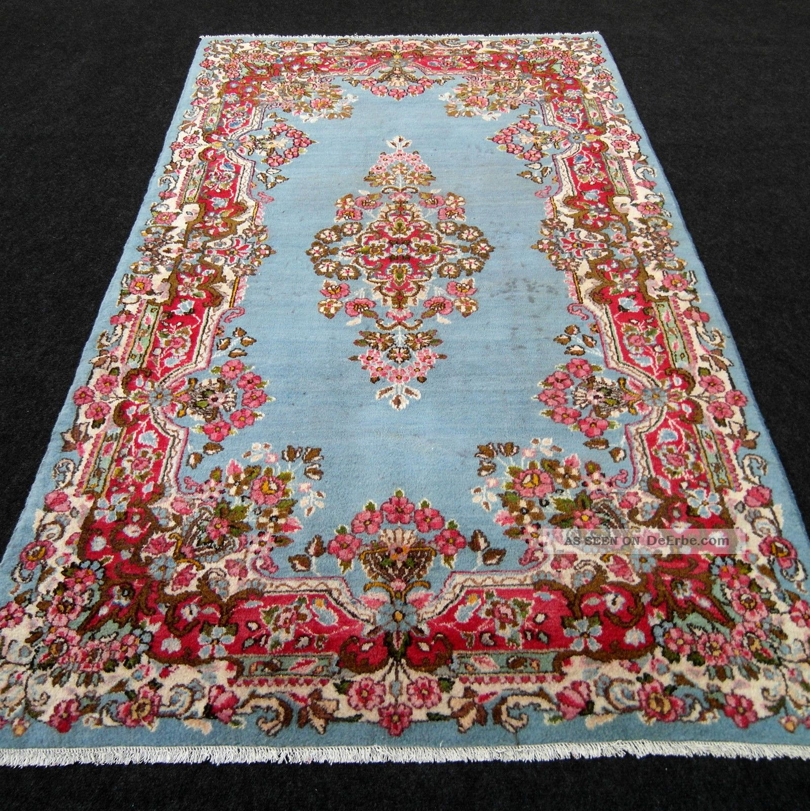 feiner alter orient teppich blau 204 x 122 cm perserteppich blue old carpet rug. Black Bedroom Furniture Sets. Home Design Ideas