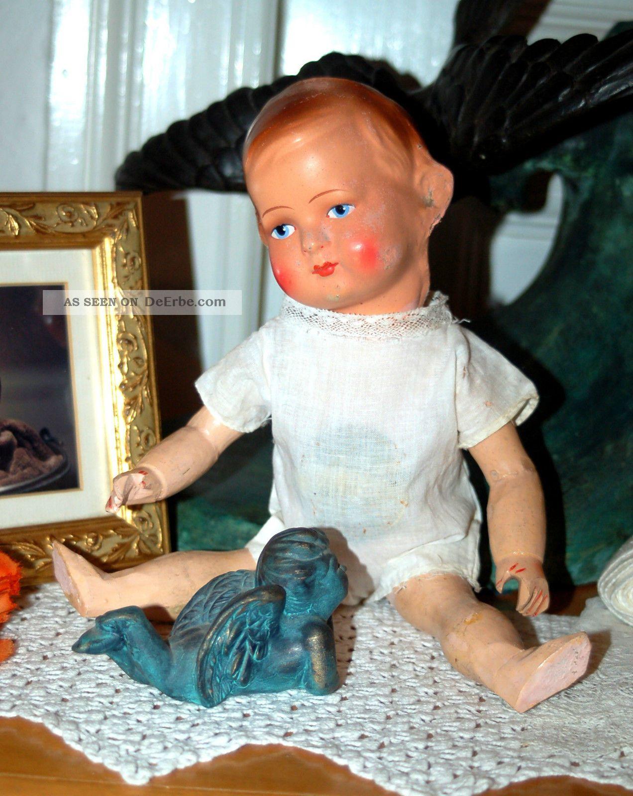 Uralte Puppe Mit Papiermaschee Kurbelkopf Und Holzkörper - 32cm Puppen & Zubehör Bild