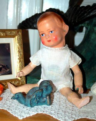 Uralte Puppe Mit Papiermaschee Kurbelkopf Und Holzkörper - 32cm Bild