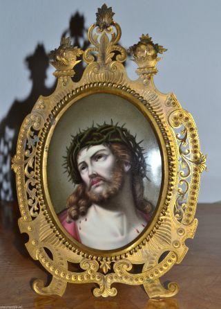 Grosses Biedermeier Porzellan Bild Jesus Handbemalt Im Bronze Prunkrahmen C1850 Bild