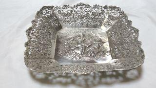 Anbietschale Rosenmuster - Handarbeit - Ca.  1910 - 800er Silber - Gewicht 163g. Bild
