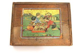 Antiker Holzbaukasten Um 1920 Bild