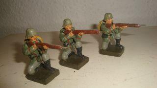 3 Seltene Elastolin,  Lineol,  Militär Masse Soldaten Mit Marschgepäck Zu 7,  5cm,  Rar Bild