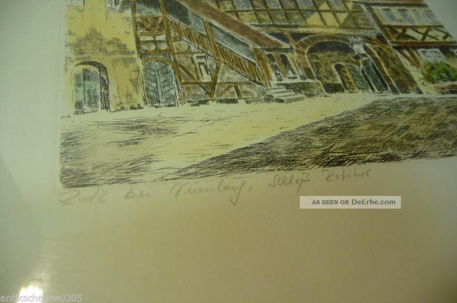 0591. Alter Rahmen Mit Bild Stich Der Stadt Roth