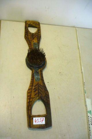 Nr.  4537.  Alter Flachsrechen Flachskamm Old Flax Rake / Wooden Comb Brush Bild