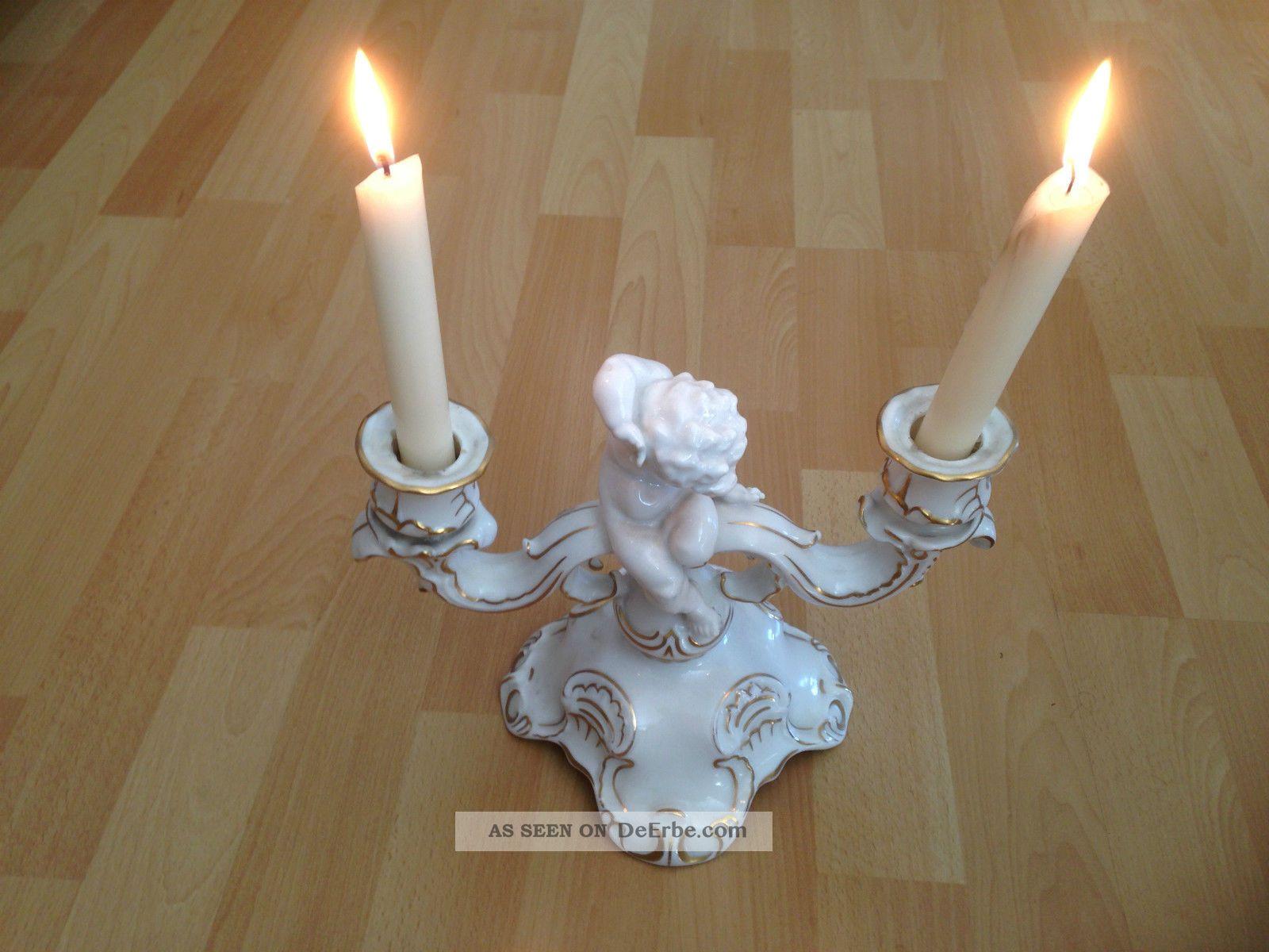 hutschenreuther selb bavaria kerzenleuchter mit engel und zwei kerzen. Black Bedroom Furniture Sets. Home Design Ideas