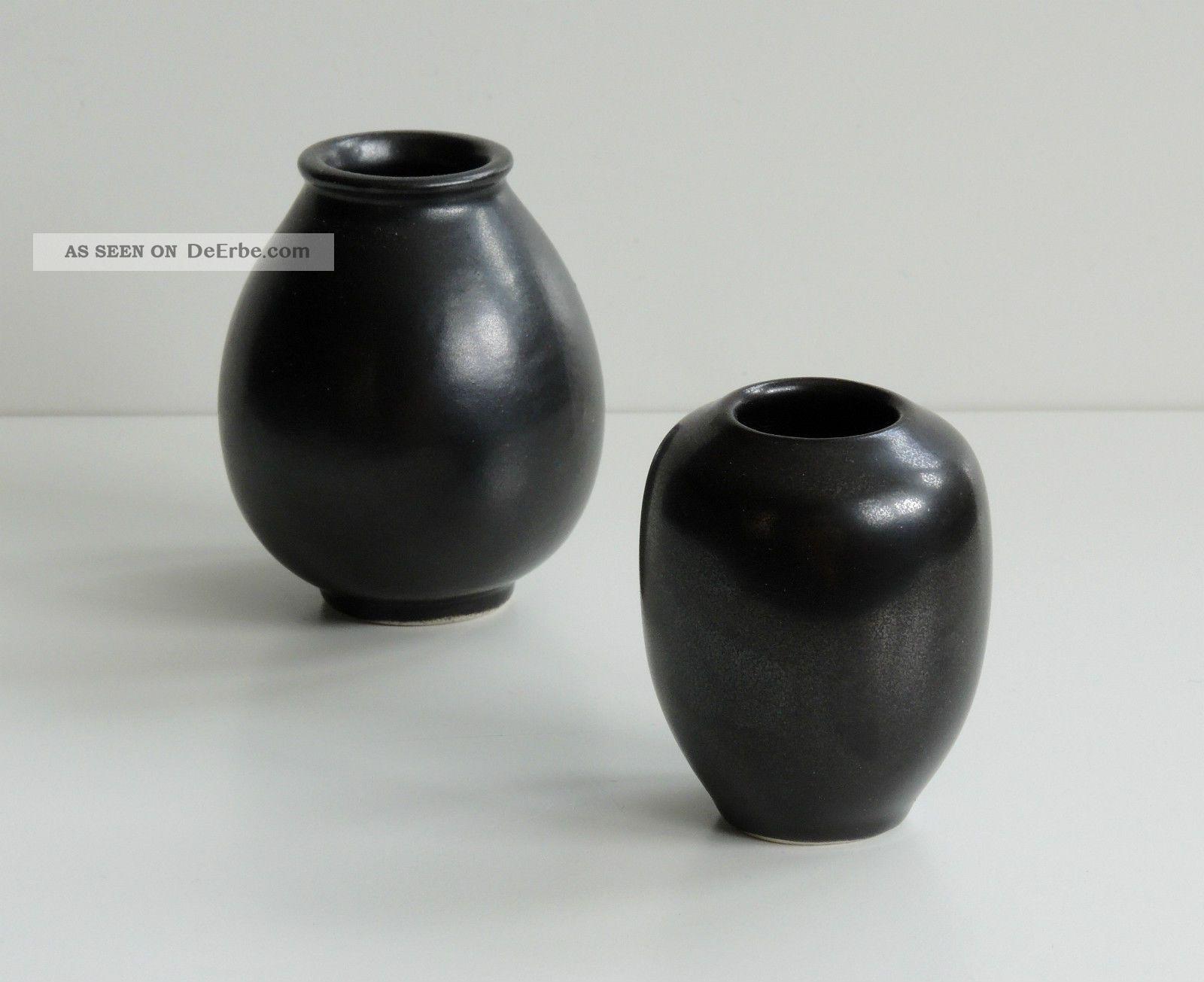 Jan Bontjes Van Beek 2 Vasen   Bk 11 U.  Bk 15 Keramik Schwarz 50er Jahre Vase 1950-1959 Bild