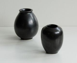 Jan Bontjes Van Beek 2 Vasen | Bk 11 U.  Bk 15 Keramik Schwarz 50er Jahre Vase Bild