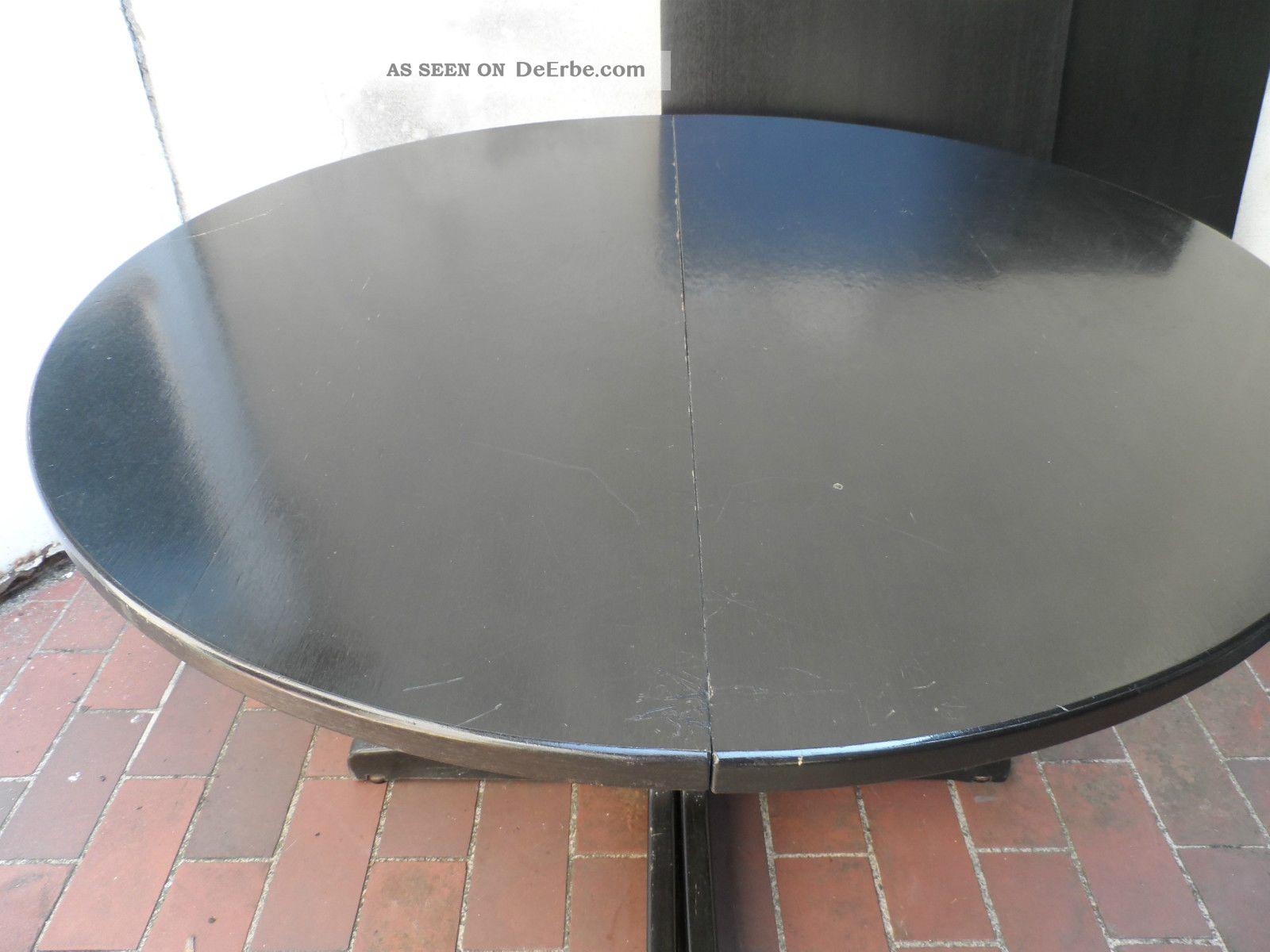 1 antiker thonet tisch rund von 1978 esstisch schwarz holz ausziehbar auf 230cm. Black Bedroom Furniture Sets. Home Design Ideas