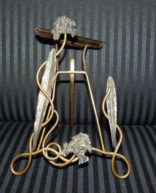 Antiker Bilderrahmen Aufstellrahmen Jugendstil Metall 20cm X 14,  5cm Bild