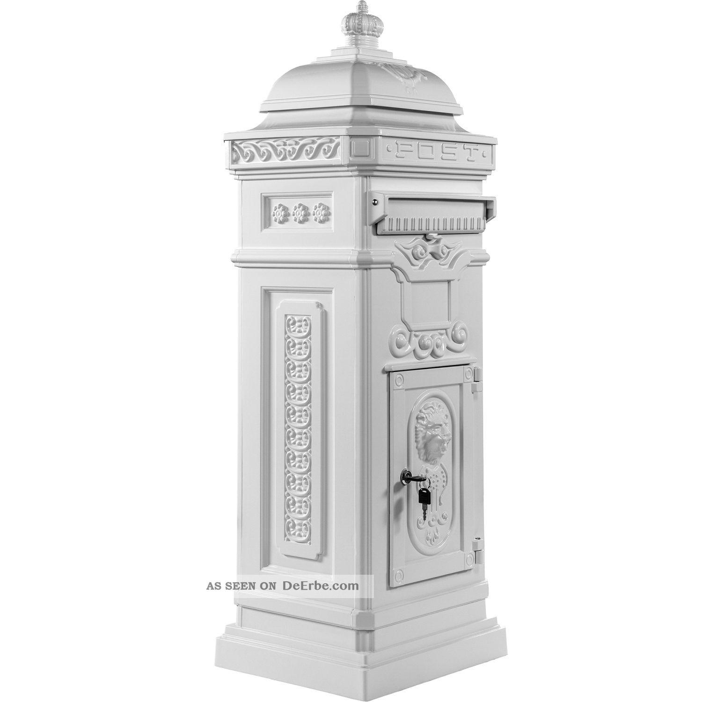 aluminium standbriefkasten rostfrei postkasten briefkasten antik wei. Black Bedroom Furniture Sets. Home Design Ideas