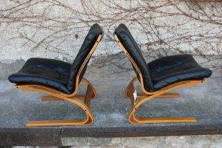 Rykken Teak Freischwinger Easychair,  Leder Midcentury Modern Bild