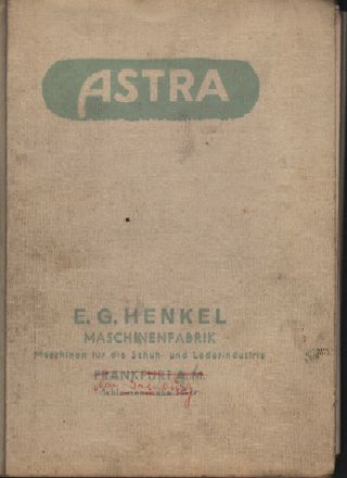 Frankfurt/m,  Katalog,  E.  G.  Henkel Maschinen - Fabrik Schuh - Näh - Maschinen Astra Led Bild
