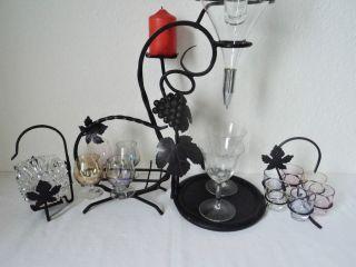 Schmiedeeiserner Dekanter Glaseinsatz Likörgläser Cognacgläser Aschenbecher Bild