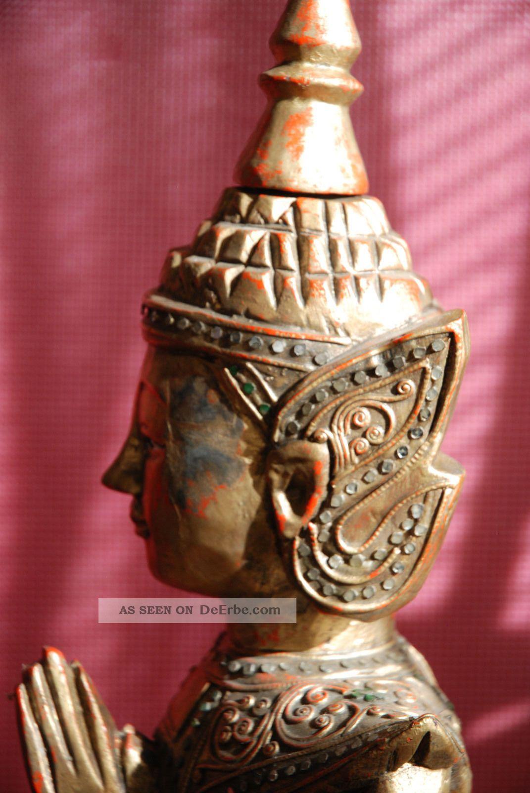 88 Cm Buddha Figur Skulptur Holz Antik Tempel Thailand