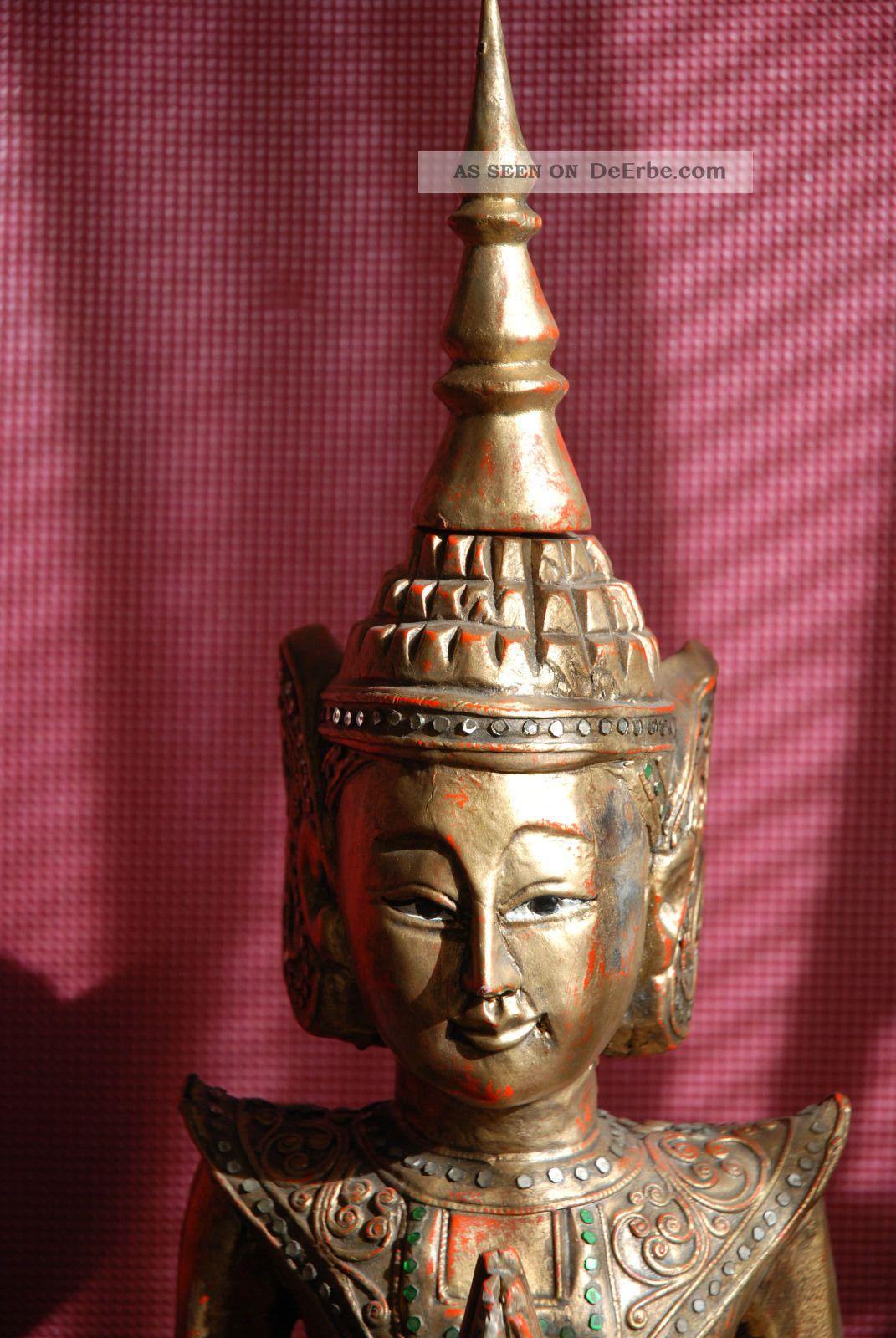 88 cm buddha figur skulptur holz antik tempel thailand for Figur buddha