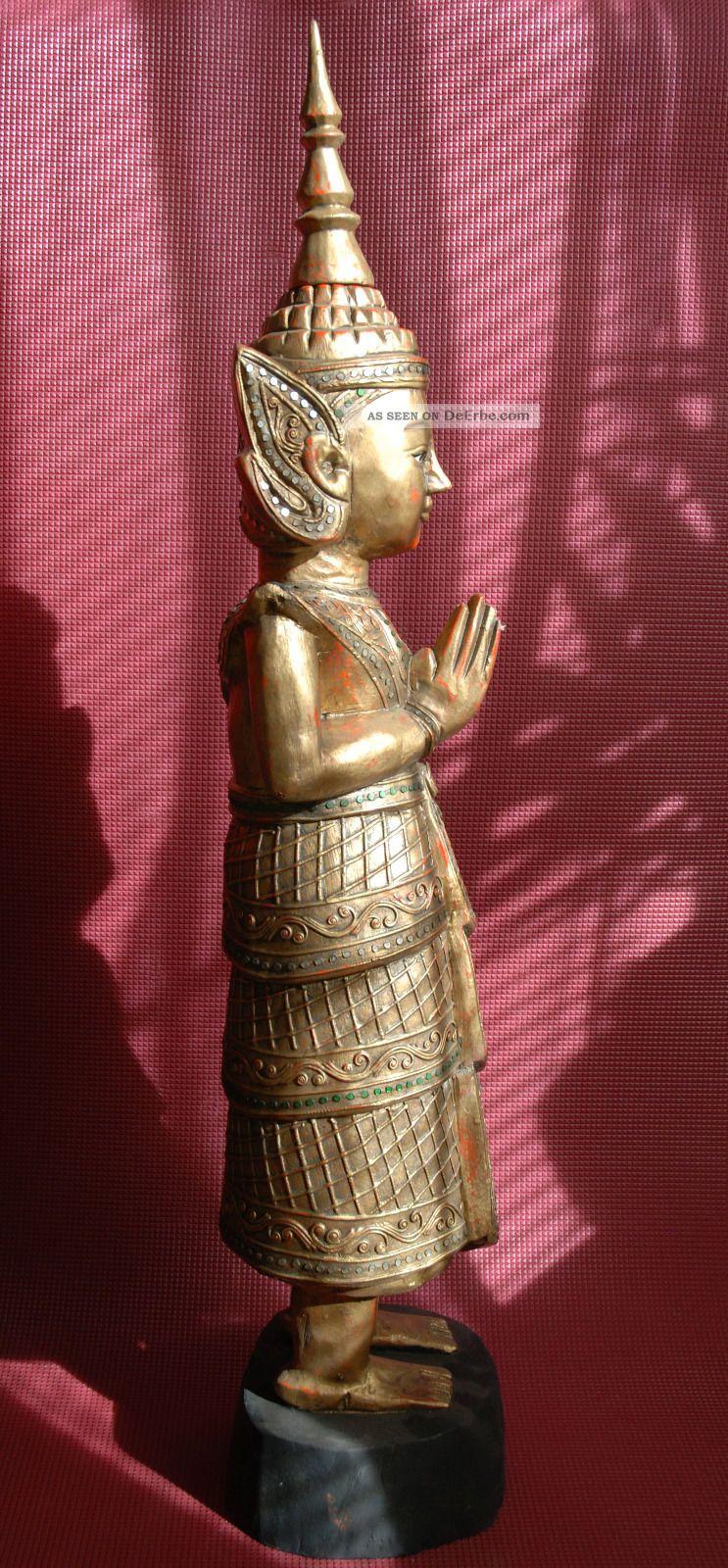 88 cm buddha figur skulptur holz antik tempel thailand for Buddha figur holz