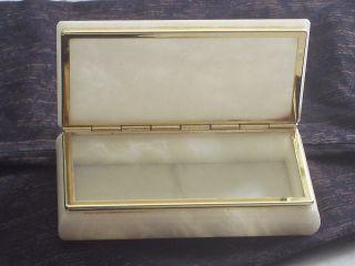 Marmor - Schmuckschatulle/schmuckkästchen Mit Klappdeckel Creme/gold Schwer Bild