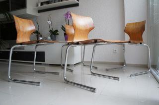 4 Von 40 Stuhl Stapelstuhl Stühle Freischwinger Chrom Pagholz FlÖtotto? Casala? Bild