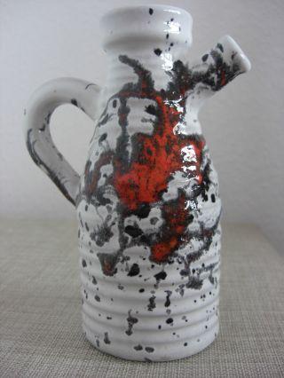 Keramik Fat Lava Vase Rot - Schwarz - Weiß 70er Jahre Emons Scheurich Roth Pottery Bild
