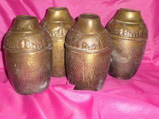 4 Stück Vasen Messing Wmf Reiner Jugendstil,  Metall,  Um 1900/1905 Blütenranke Bild