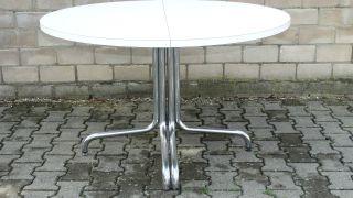 Thonet Tisch Holztisch Chrom 70er Konferenztisch Esstisch Rund Ausziehbar 240cm Bild