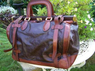 Vintage Weekender Reisetasche Leder Doktor Tasche Koffer Hebammen Arzttasche Bild
