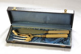 Antikes Fischbesteck Beilagebesteck Besteck Vergoldet Bein Griff Mit Etui Bild