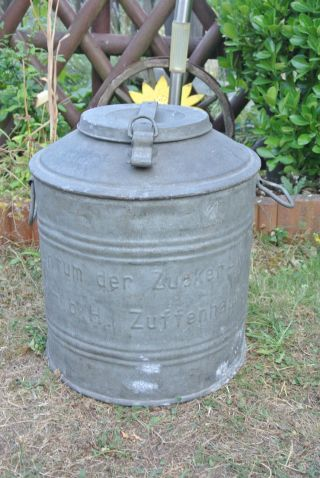 Alter Zinkeimer,  Zucker - Eimer,  Zuffenhausen G.  M.  B.  H Zucker Werke Bild