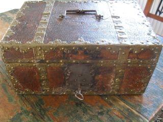 Reiseapotheke Barock Um 1800 Rendsburg Messingbeschläge Leder Lackpapier Bild