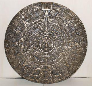 Großer,  Schwerer Maya / Azteken Kalender Aus Bronze Bild