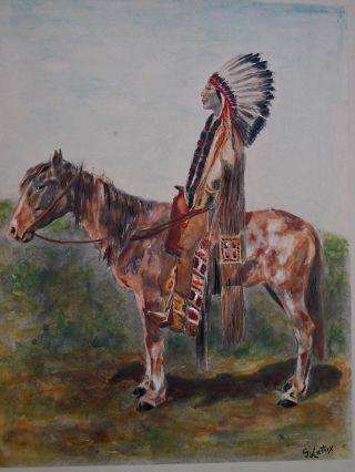 Jugendstil Grafik Indianer Pferd Nach Gaspard De Latoix Handkoloriert Bild