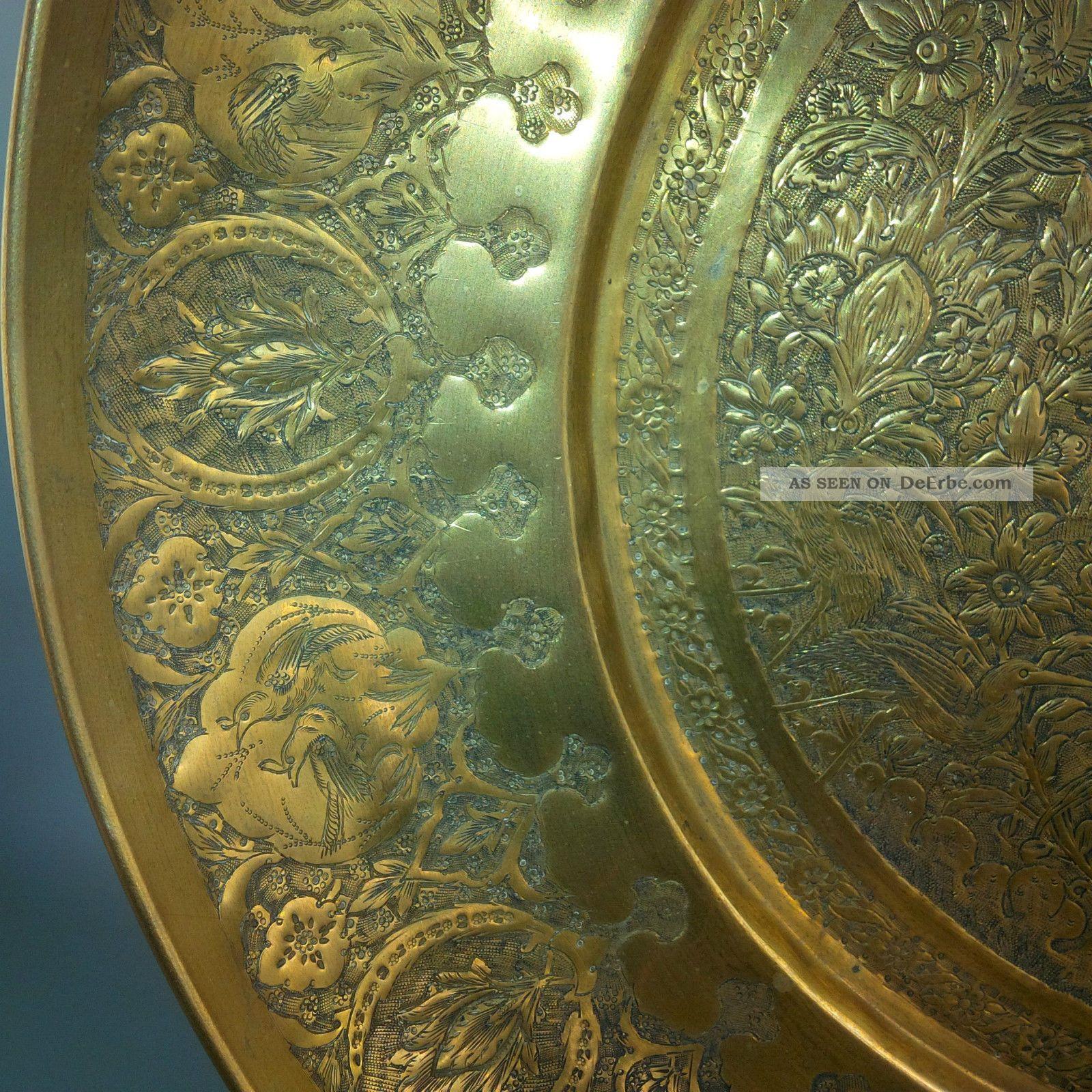 antike messing schale ziseliert persien islamische kunst um 1900 wandteller gold. Black Bedroom Furniture Sets. Home Design Ideas