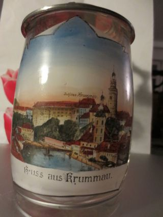 Andenken Glaskrug,  Bierkrug - - Krummau - - Mit Jugendstil Zinndeckel Bild