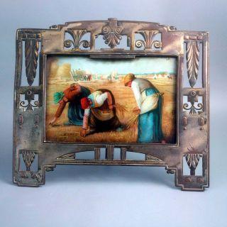 Antikes Bild Jugendstil Bilderrahmen Glas Metall Heuernte Ährenleserinnen Millet Bild