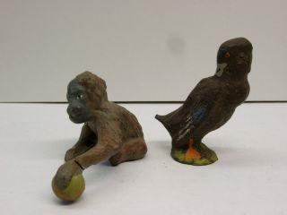 Lineol / Elastolin Baby Gorilla & Ente,  Leipziger Zoo,  Sammlerauflösung Bild