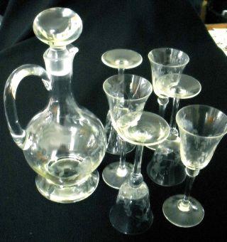 Erbstück Große Karaffe Glas Geschliffen Mit 6 Passenden Gläsern Mängelfrei Bild