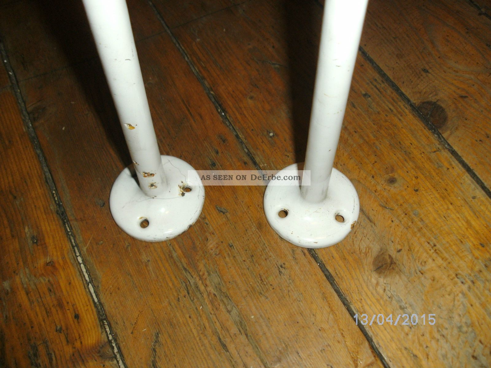 2 Handtuchhalter Emaille Guss Bad Ablage Waschbecken