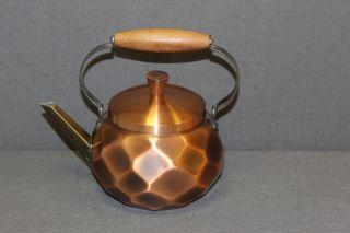 Kupferkessel Wasserkessel Teekessel Wassertopf Verkupfert Teak Retro Bild